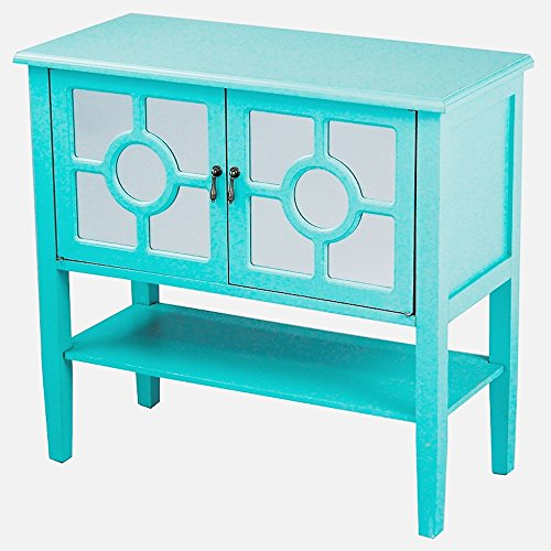 Heather Ann Creations Modern 2 Door Accent Console Cabinet With Circle Pane Mirror Insert and Bottom Shelf Turquoise by Heather Ann Creations