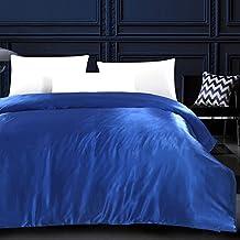 Zhiyuan Luxury Bedding Reversible Silky Satin Duvet Cover No Comforter King, Blue
