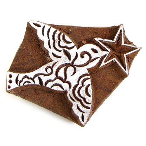 Christmas Dove With Star 2in Handmade Solid Natural Wood Block Stamp Ink Printing Xmas Stamping Paper Crafting