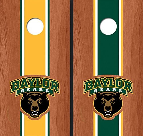 Baylor University Bear Rosewood Alternating Long Stripe Cornhole Boards - Bu-9119
