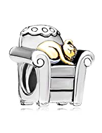 Silver Plated Pugster Cat In Chair Bead Fit Pandora Charms