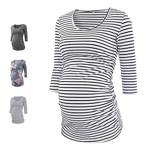 MAXIUSS Women's Maternity Tops Classic Round Neck 3/4 Sleeve Side Ruched Maternity Tunic Tops T Shirts Pregnancy - 3/4 Sleeve T-shirts Maternity