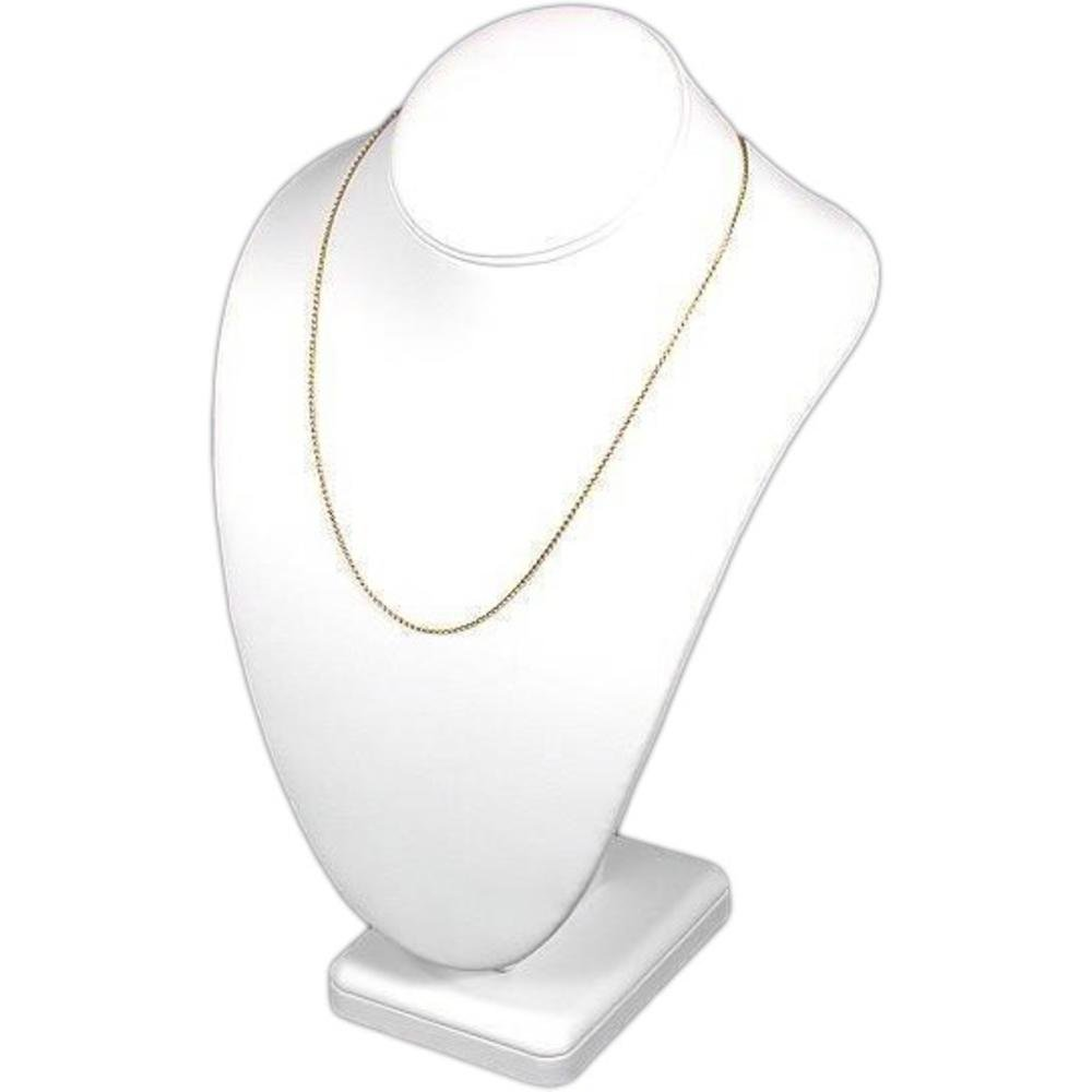 Necklace Bust Showcase Display White Leather Jewelry 189-2LW