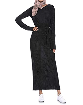 Vestido de Mujer Falda Larga Túnica Vestidos Manga Larga Musulmán ...