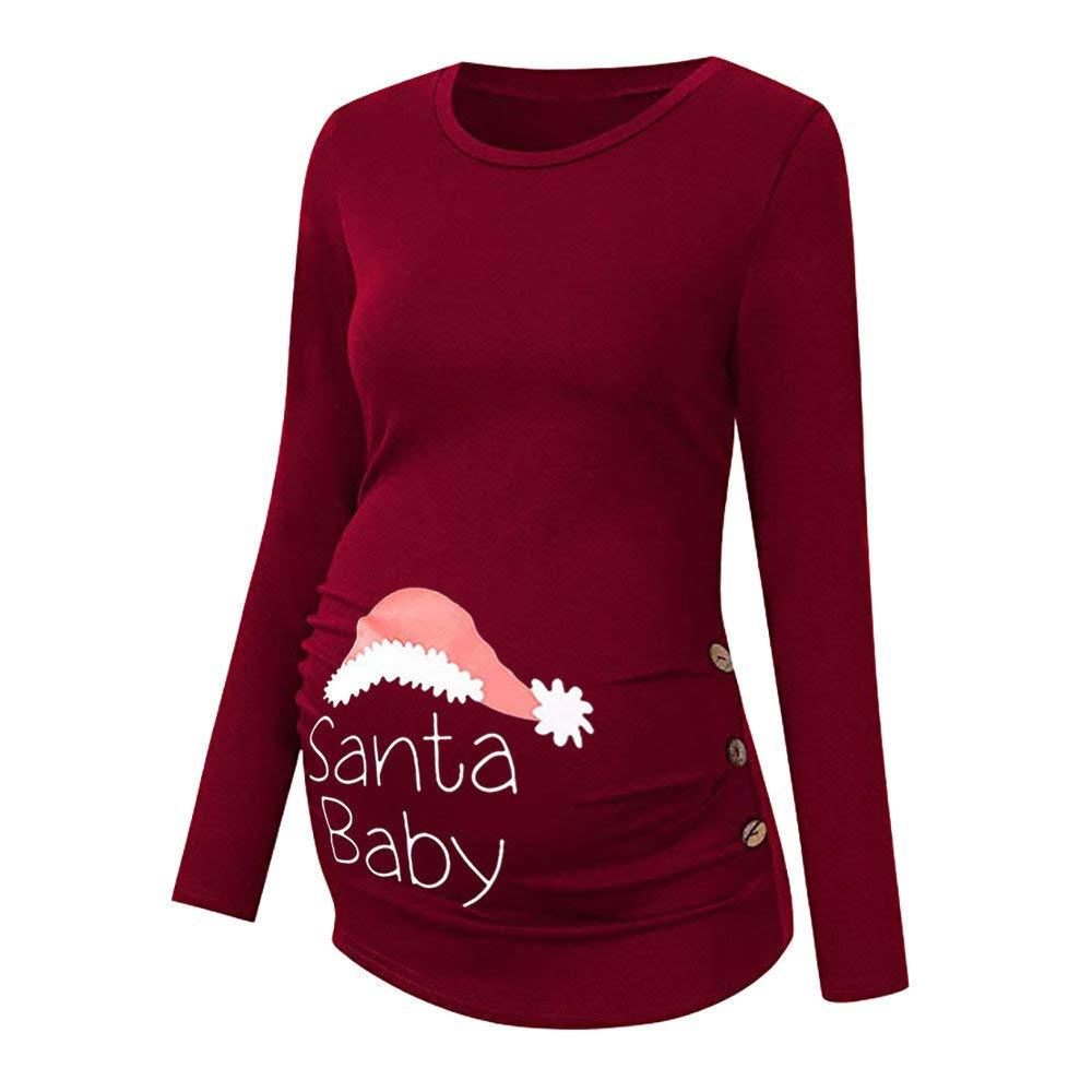 Riou Umstandsmode Damen Umstandsshirt Langarm Lang Weihnachten Stillen Baby Stillshirts f/ür Schwangerschaft Basic Stillzeit Stilltops Blouse