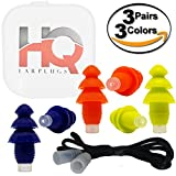 Silicone Ear Plugs with Cord - Reusable - Hearing Protection NRR 29 - Waterproof - Small & Regular Size for Sleeping, Snoring, Swimming, Work, Shooting, Concert, Travel by HQ Earplugs (3Pack-B/O/Y)