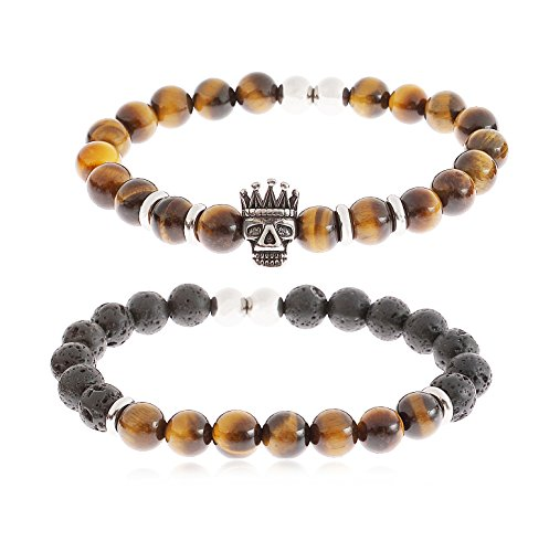 YILIBAO 8mm Tiger Eye Stone Lava Rock Bracelet Essential Oil Diffuser Yoga Beads, Stainless Steel Jewelry, Key Product Features: (Crown Skull) -