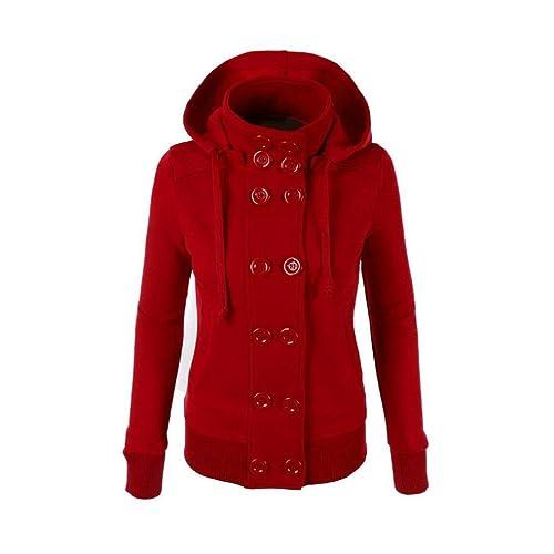 OverDose Las mujeres del invierno caliente de doble botonadura con capucha larga delgada Outwear la capa de la chaqueta