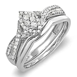 0.33 Carat (ctw) Sterling Silver Round Diamond Marquise Shape Bridal Promise Engagement Ring Set 1/3 CT