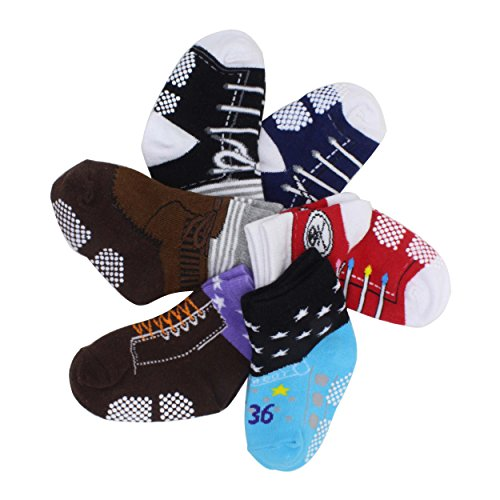 6 Pairs Toddler Baby Boys Non Skid Pre Walking Ankle
