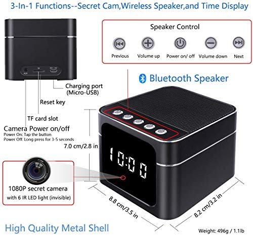 LIVCRT Spy Hidden Camera Wireless Bluetooth Speaker Spy Camera Clock HD 1080P WiFi Nanny Cam Night Vision Remote View via PC/iOS/Android APP - Motion Detection Record & Alarm