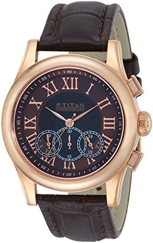 Titan Classique Analog Brown Dial Men #39;s Watch 1562WL03 / 1562WL03