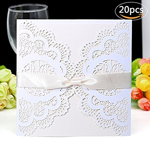 Wedding Invitations Cards, Cordliya Laser Cut Invitations Kits 20 PCS Including Envelopes & Printable Papers and Ribbon Bowknot for Wedding Bridal Bride Shower Party Creamy-White