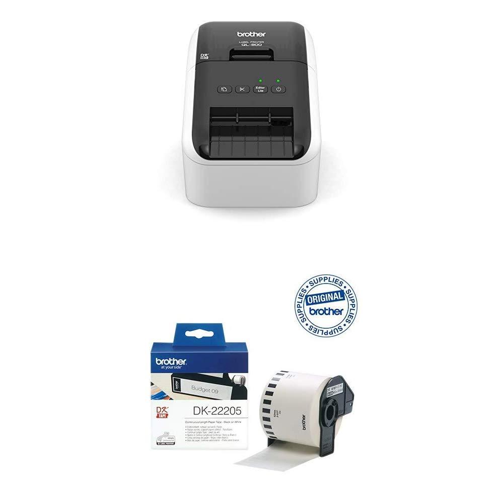 Brother QL-800 - Impresora de Etiquetas + Brother DK22205 - Cinta continua de papel