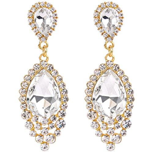 Chandelier Dance Costume (BriLove Women's Wedding Bridal Crystal Teardrop Cluster Beads Chandelier Dangle Pierced Earrings Gold-Tone Clear)