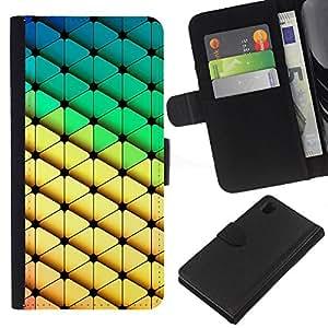 KingStore / Leather Etui en cuir / Sony Xperia Z1 L39 / Modelo del diamante del Polígono Verde Amarillo