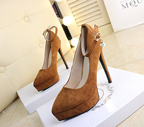 Leisure 12Cm Waterproof Elegant 38 Suede Shoes Hoist Work Spring Brown Platform Pointed MDRW Fine Heel Lady High Shoe Clasp Heel Work Single 5w1qxHqt0