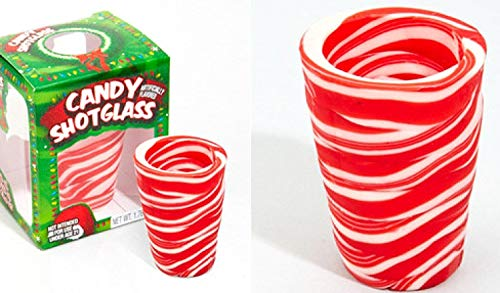 (Peppermint Flavored Candy Cane Edible Shot Glass (New Year Celebration Candy Shot Glasses New Years (Includes 6 Shot)