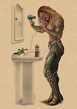 Marvel Super-H/éros Batman Toilette Affiche Dr/ôle Mur Art Affiches R/étro Kraft Papier Imprime Mur Photos Pour Salle De Bains D/écor 42X30Cm Blanc