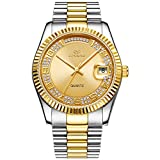 BUREI Unisex Classic Analog Quartz Wrist Watch Gold Dial with Numbers and Rhinestone Date Window Stainless Steel Case and Bracelet (Gold-1)