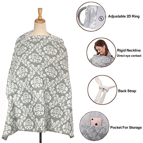 Pasway Nursing Cover for Breastfeeding with Free Pouch - Cotton Apron Cover Up for Feeding Baby (F) by pasway (Image #1)