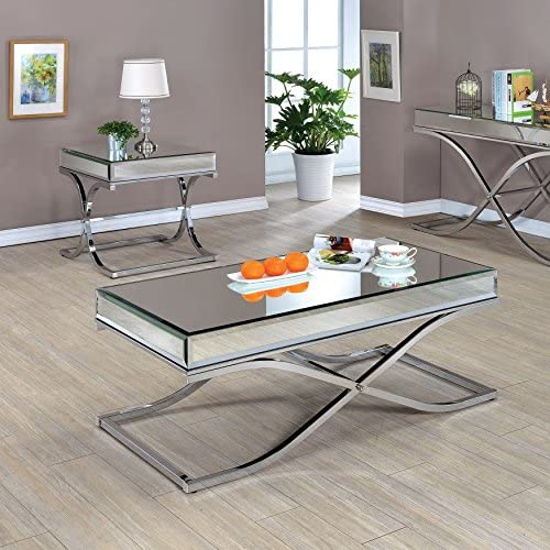 Furniture of America Orelia Luxury Chrome 2-Piece Accent Table Set