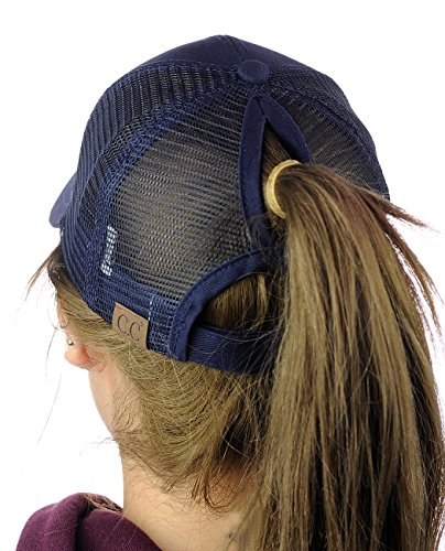 C.C Ponycap Messy High Bun Ponytail Adjustable Mesh Trucker Baseball Cap Hat, Navy
