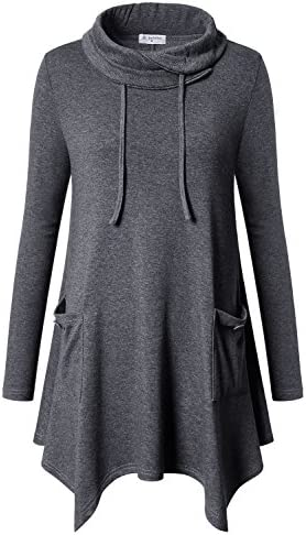 e5a5e0a1325 Bulotus Women s Long Sleeve Cowl Neck Casual Jersey Knit Tunic Tops With  Pockets