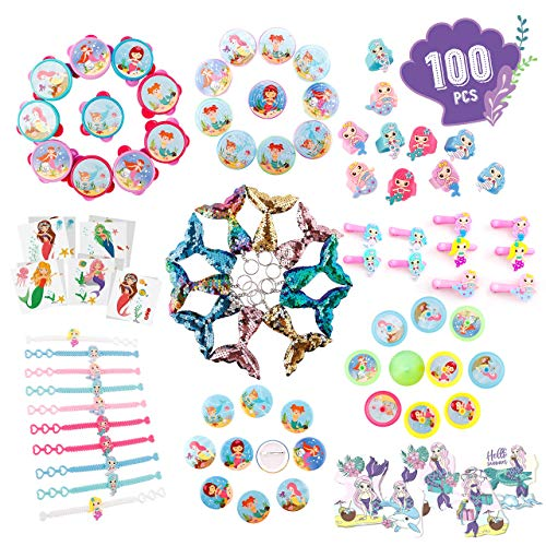 Joyful Toys Mermaid Party Favors 100Pcs - Mermaid Party Supplies Bracelet, Keychain, Rings, Badges, Clips, Tambourines, Stickers, Tattoos, Mazes, Birthday Gifts