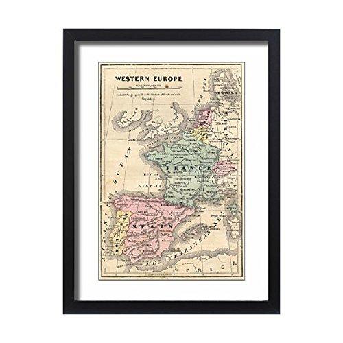 Media Storehouse Framed 24x18 Print of France Spain Portugal map 1856 (13668739)