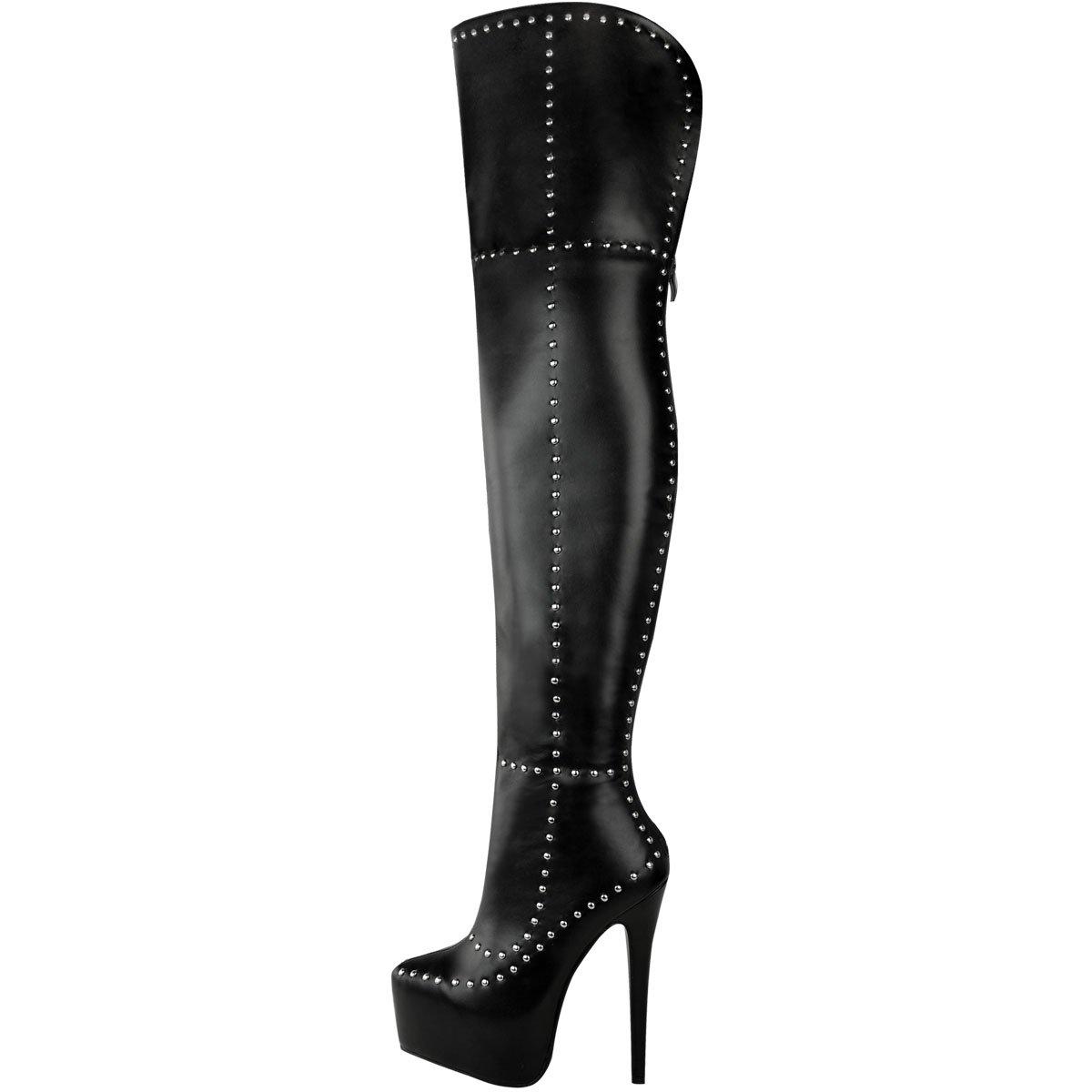 Fashion Thirsty Womens Studded Platform Sexy Thigh High Boots Stiletto Punk Goth Size B076ZKZ7C1 9 B(M) US|Black Faux Leather