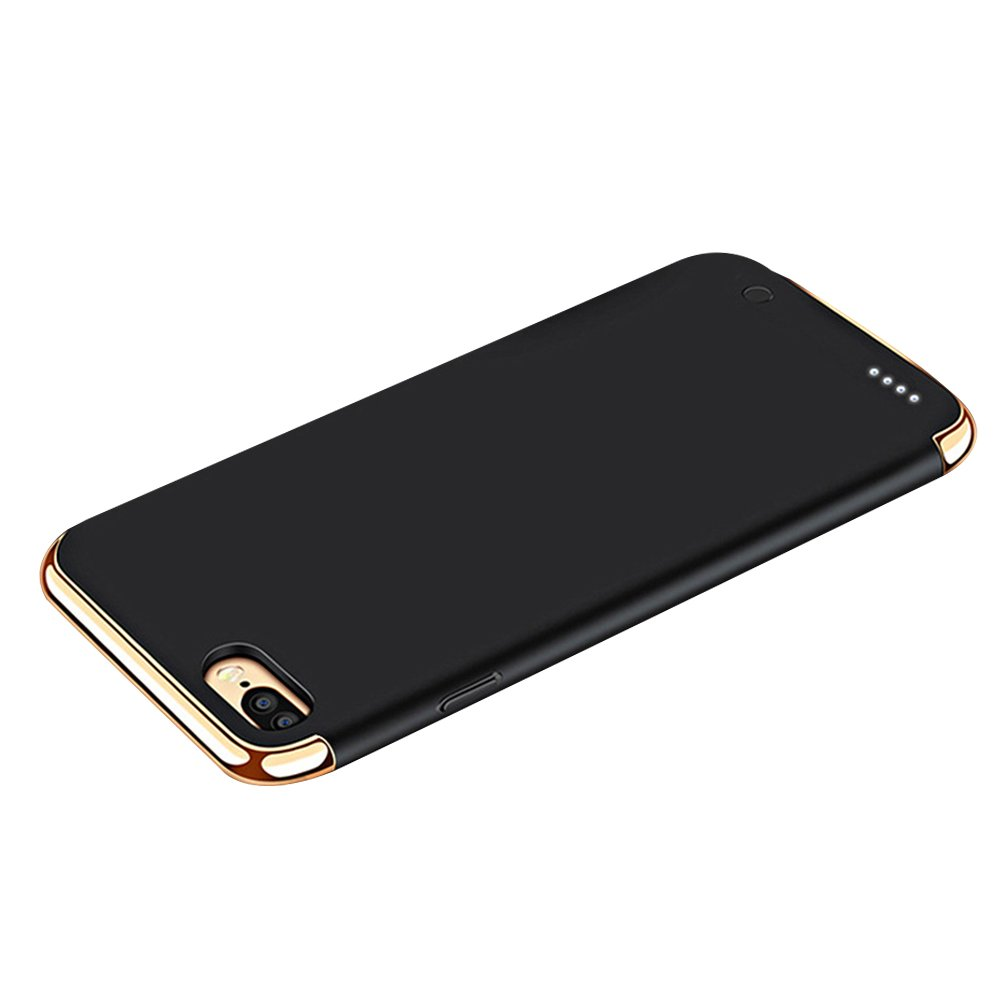 UKCOCO iPhone 8 Case, iPhone 7 Battery Case, 3 in 1 Luxury Ultra Slim Detachable Electroplating Case Backup Travel Power Bank Back Cover for iPhone 8/7/6/6S (Black)
