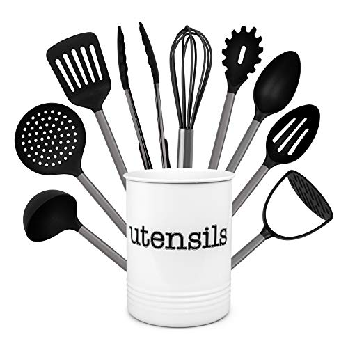 Country Kitchen 10 Piece Nylon Cooking Utensil Set with Holder, Kitchen Tools and Gadgets with Rounded Gunmetal Handles – Black