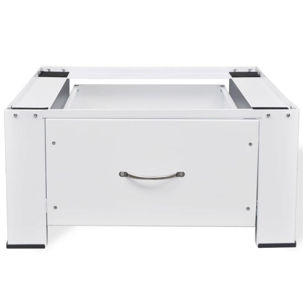 "Festnight Washing Machine Pedestal with Storage Drawer Adjustable Height Dryer Mini Refrigerator Cabinet Stand for Utility Room Home Furniture 24.8"" x 21.3"" x 12.2"" (W x D x H)"