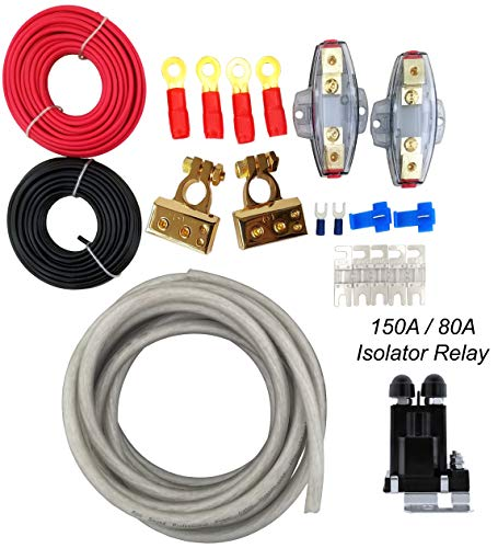 (GS Power 150 amp Dual/Auxiliary Battery Charge Isolator Complete Wiring Kit w/ 4 Gauge OFC Cable (20 FT), Isolation Relay, Ring Terminal, Fuse, Fuse Holder for Off Road Automotive ATU, UTV, RV, RZR)