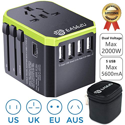 Adapter International,Ease2U Dual Voltage Hair Dryer, Flat Iron, Steamer Power Adapter with 5 Fast USB Charger,Type-C,8A Worldwide AC Outlet Max 2000W UK US AU Asia 200+(Green)