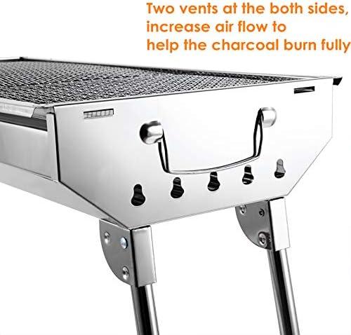 AGM Barbecue au Charbon de Bois, 710x330x730 mm | Grand BBQ Grill Pliable pour 5~10 personnes | Acier Inoxydable Epais | pour Pique-Nique, Voyage, Jardin, Camping