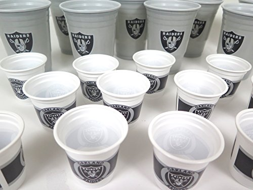 Oakland Raiders 36 Drinking Cups barbecue cookout 4th of July Shot cups and Jumbo 18 oz party cups
