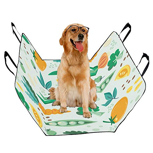 JTMOVING Fashion Oxford Pet Car Seat Fruit and Vegetable Harvest Sweet Waterproof Nonslip Canine Pet Dog Bed Hammock Convertible for Cars Trucks SUV