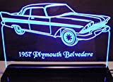1957 Plymouth Belvedere 2dr Acrylic Lighted Edge Lit 12'' Reflective Black Mirror Base 15 LED Sign Light Up Plaque 57 VVD7 Made in the USA