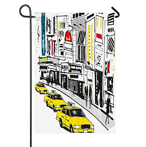 - AoshangGardeflag Times Square York with People in Street Taxi Cabs Traffic Fashion IllustrationSeasonal Garden Flag Outdoors Lawn Decor PremiumHoliday Flag to Bright Up Your Life