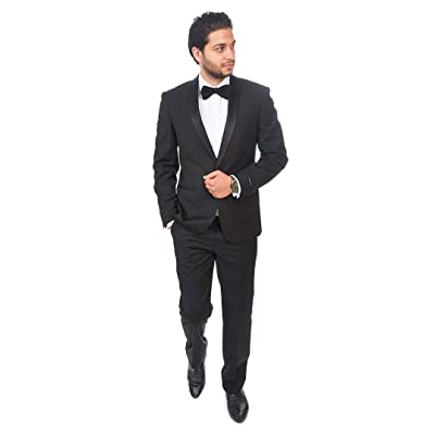 AZAR MAN Slim Fit Men Shawl Lapel Tuxedo Black 1 Button Flat Front Pants at Amazon Men's Clothing store