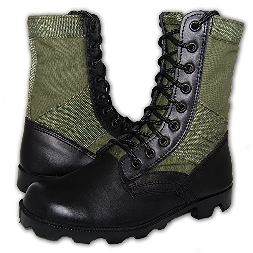 KRAZY SHOE ARTISTS Jungle Boot 8 Inch Leather Black Green Tactical Men's Combat Size 8
