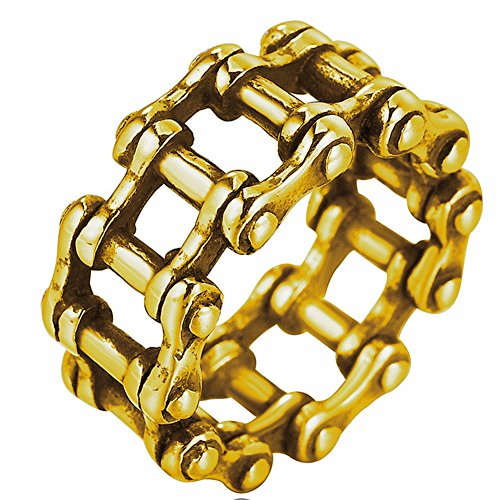 Men's Gothic Stainless Steel Band Rings Cool Unique Biker Chain Punk Knight Rings Gold Black Size 8