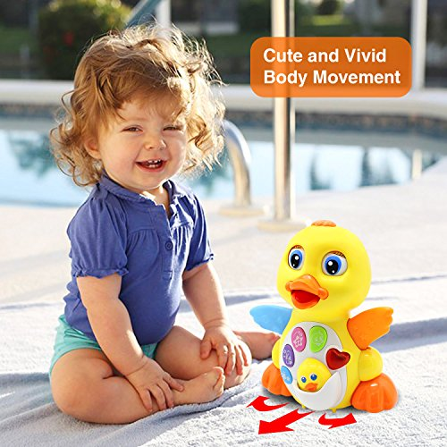 51IUo7mzENL - HOMOFY Yellow Duck Baby Lovely Dancing Singing, Music Lights and Walking, Learning Kids Toys for Girls and Boys Or Toddlers