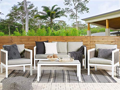 Beliani Modern 5-Seater Aluminium Garden Sofa Set Brown