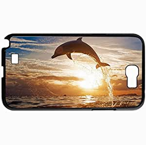 Personalized Protective Hardshell Back Hardcover For Samsung Note 2, Dolphin Jump Sea Sunset Design In Black Case Color