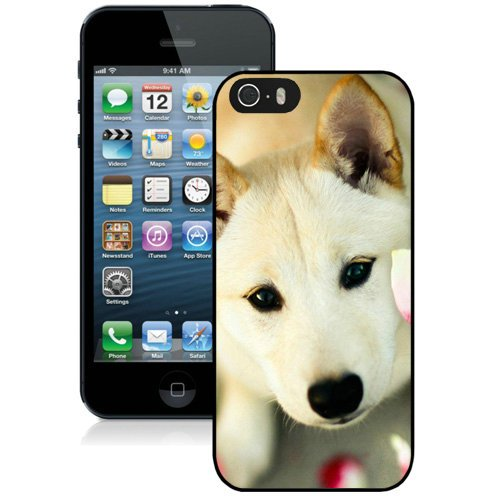 Coque,Fashion Coque iphone 5S Cute Dog Pink Petals Noir Screen Cover Case Cover Fashion and Hot Sale Design
