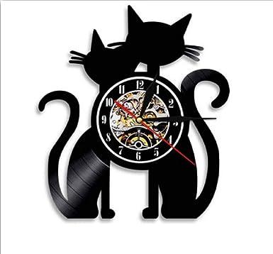 Txyang 1 Pieza Pareja Gatos Vintage LP Disco De Vinilo Reloj ...