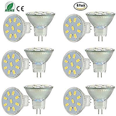 Ei-Home 6 Pack 5733-9SMD MR11 GU4 LED Bulbs, AC/DC 10-30V?2W, Halogen Lamp Replacement,LED Light Bulbs for Home Lighting, Display Lightling,RV Lighting(Non-Dimmable)